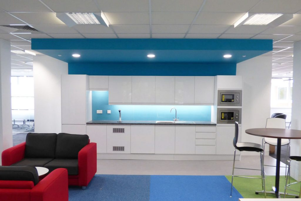 Kantar, High Wycombe. Kitchn with feature ceiling and splashback